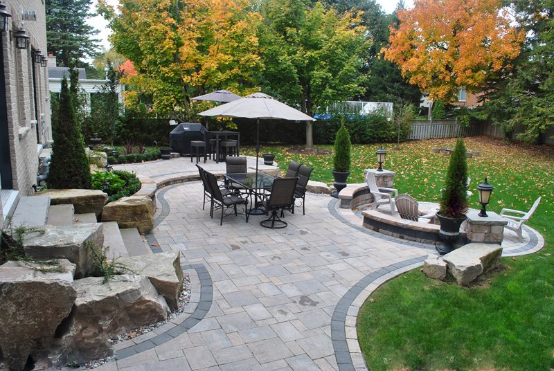 Backyard Paver Patio, Backyard Boulders Canada Landscaping OGS Landscape Services Whitby, ON