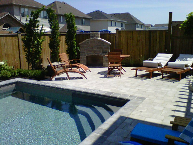Beautiful Small Patio, Pool Patio, Interlocking Stone Patio Canada Landscaping  Heritage Stoneworks Ltd. Kitchener