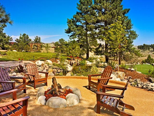 Boulder Fire Ring, Adirondack Chairs Colorado Landscaping American Design & Landscape Parker, CO