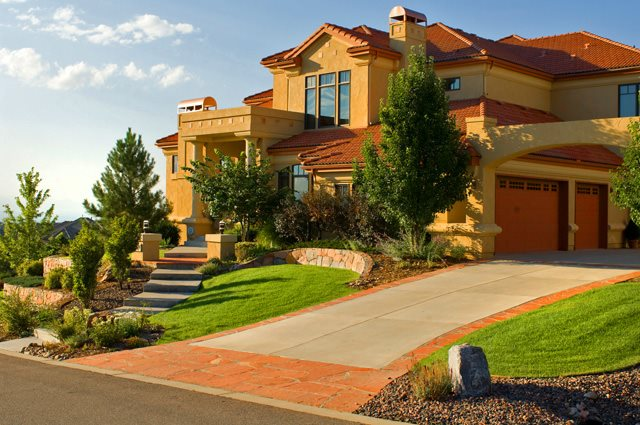 Flagstone Driveway Apron Colorado Landscaping American Design & Landscape Parker, CO