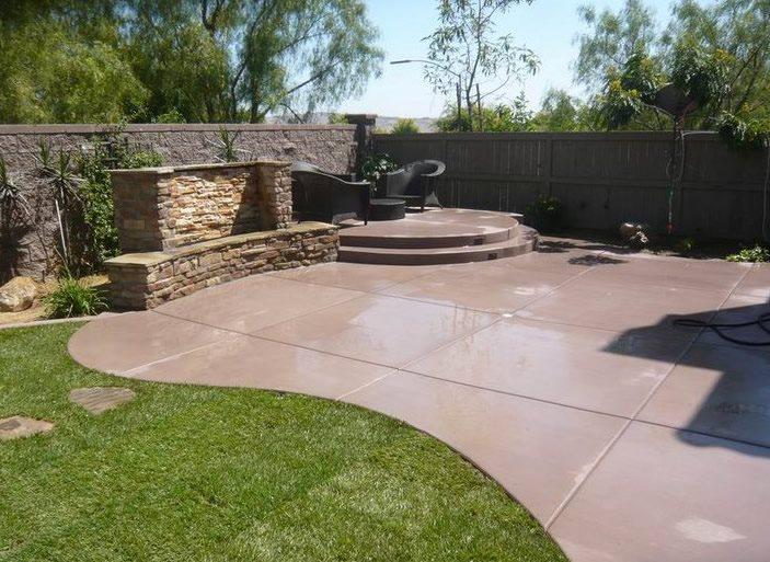 Colored Concrete Concrete Patio Quality Living Landscape San Marcos, CA