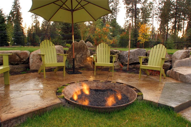 Recycled Fire Pit Concrete Patio Copper Creek Landscaping, Inc. Mead, WA
