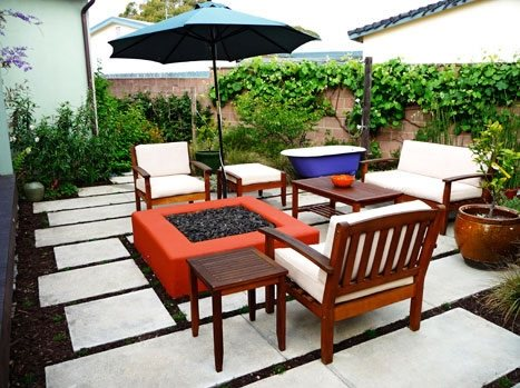 Red Fire Pit Concrete Patio Kiesel Design Ventura, CA
