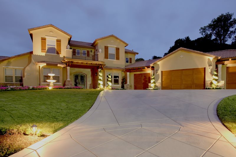 Concrete Driveway Sawcut, Front Yard Lighting Concrete Paving Landscaping Network Calimesa, CA