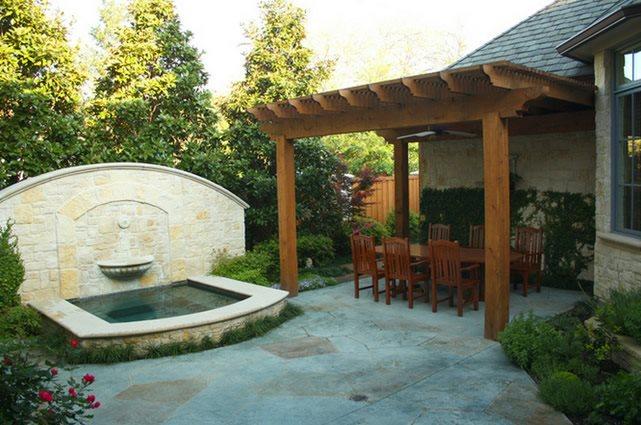 Fountain, Textured Concrete Concrete Paving Bonick Landscaping Dallas, TX