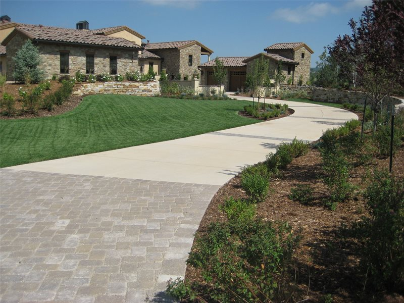 Long Driveway, Concrete Driveway Concrete Paving Accent Landscapes Colorado Springs, CO