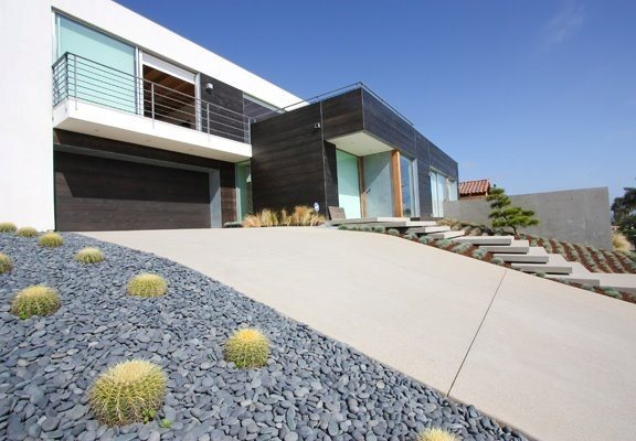 Modern Driveway Concrete Paving Grounded Landscape Architecture and Planning Encinitas, CA