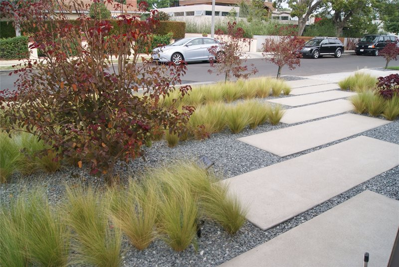 Modern Walkway Concrete Paving Z Freedman Landscape Design Venice, CA