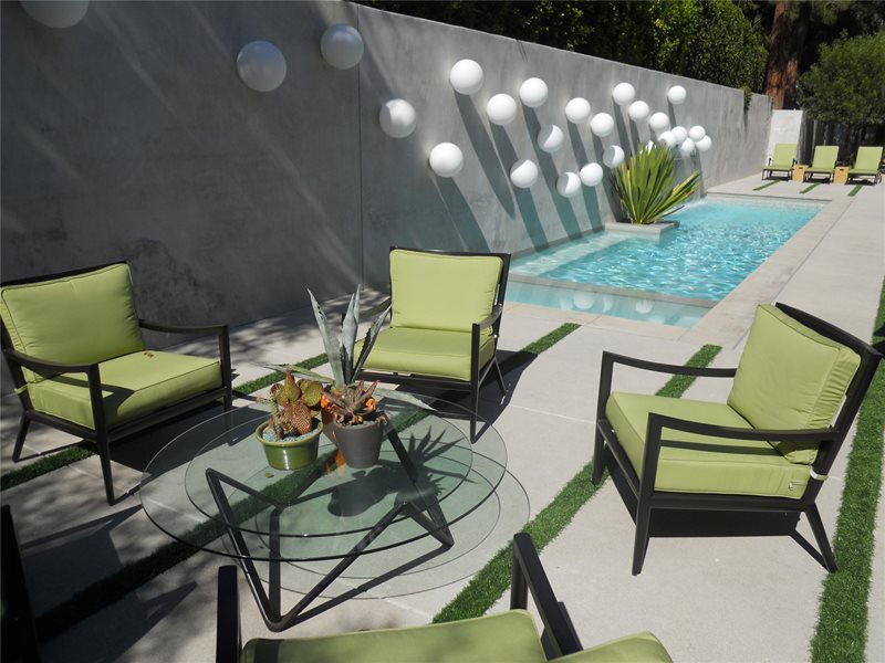 Patio With Water Feature And Lighting Concrete Paving Landscaping Network Calimesa, CA