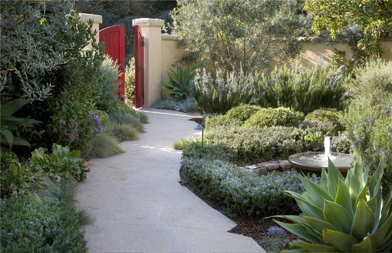 Red Garden Gate Concrete Paving ALIDA ALDRICH LANDSCAPE DESIGN Santa  Barbara, CA