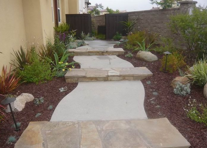 Walkway, Steps, Concrete, Stone Concrete Paving Quality Living Landscape San Marcos, CA