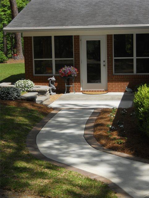 Curved, Walkway Concrete Walkway T Lake Environmental Design Macon, GA