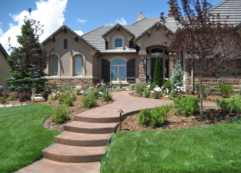 Informal Front Yard, Colored Concrete Walkway Concrete Walkway Accent Landscapes Colorado Springs, CO