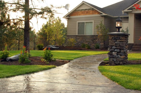 Stamped Concrete, Front Walkway, Pillar Light Concrete Walkway Copper Creek Landscaping, Inc. Mead, WA