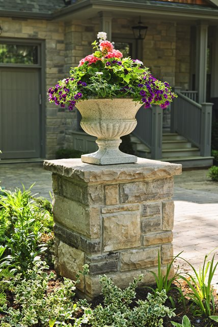 Flower Urn, Stone Column Container Gardens Landscaping Network Calimesa, CA