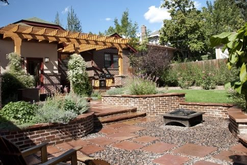 Backyard Firepit Patio Cover Country Landscape Design Arcadia Design Group Centennial, CO
