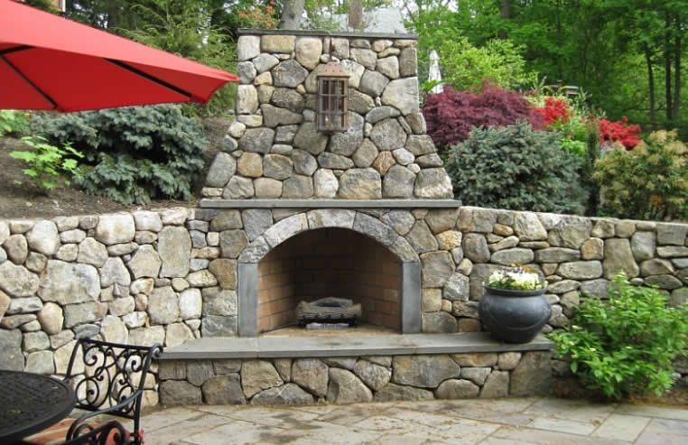 Corner Outdoor Fireplace Country Landscape Design Greayer Design Associates Harvard, MA