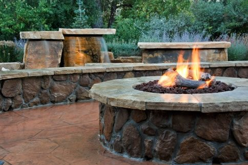 Gas Fire Pit Log Set Country Landscape Design Arcadia Design Group Centennial, CO