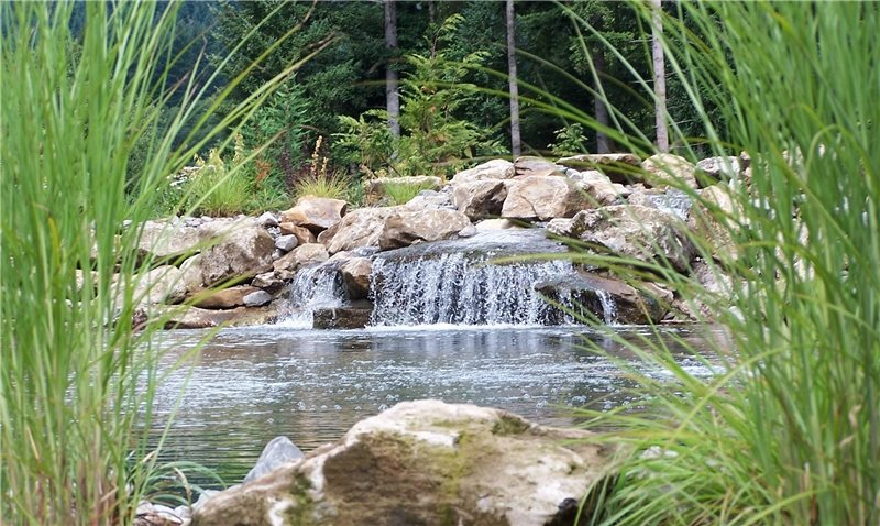 Natural Pond Design, Waterfall Design Country Landscape Design Woody's Custom Landscaping Inc Battle Ground, WA