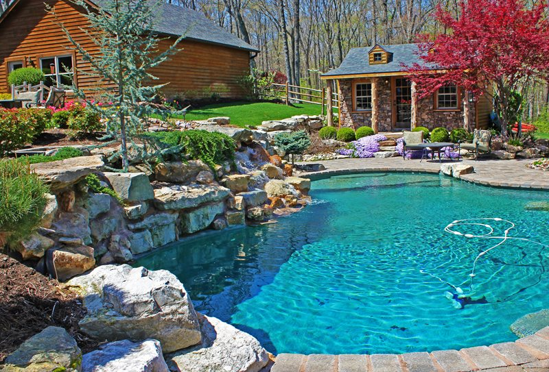 Rustic Pool Country Landscape Design Green Guys Chesterfield, MO