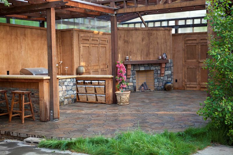 Rustic Shade Cover, Rustic Outdoor Fireplace Country Landscape Design LandPlan's Landscaping Pleasanton, CA