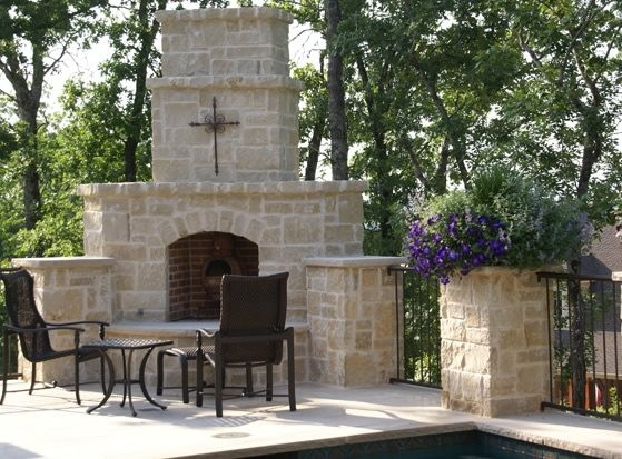 Stone Outdoor Fireplace Country Landscape Design Landvisions TX Tyler, TX