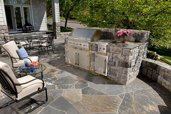 Stone Outdoor Kitchen Country Landscape Design Big Sky Landscaping Inc. Portland, OR