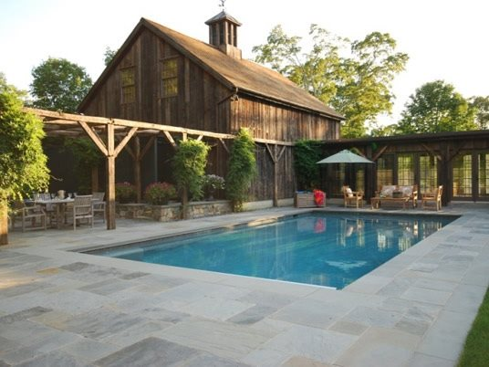 Stone Pool Deck Country Landscape Design Hoffman Landscapes Wilton, CT