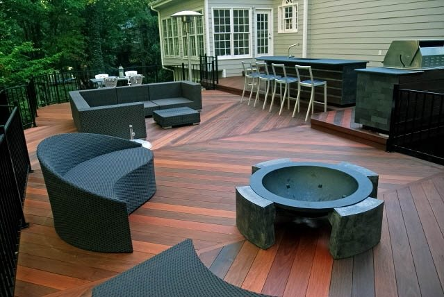 Deck Fire Pit, Deck Furniture Deck Design Peach Tree Decks & Porches Atlanta, GA