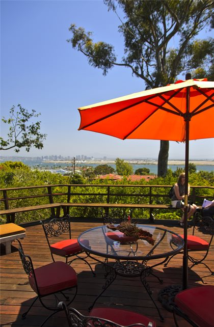 Deck, Table, Umbrella, Bench, Orange Deck Design Landscaping Network Calimesa, CA