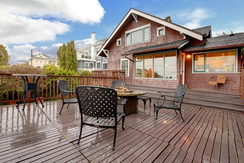 Deck With Fire Pit, Craftsman House Deck Design Landscaping Network Calimesa, CA