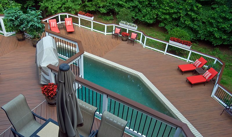 Deck With Pool, Multi Level Deck Deck Design Peach Tree Decks & Porches Atlanta, GA