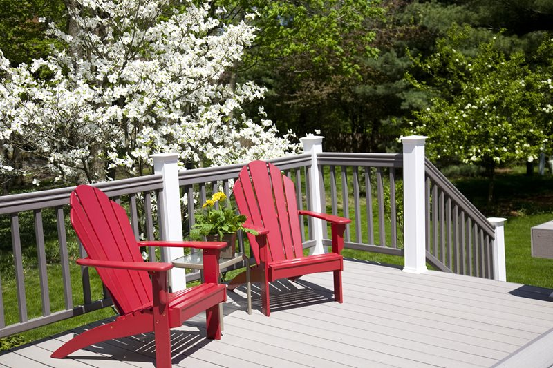 Gray Composite Deck, Red Adirondack Chairs Deck Design Landscaping Network Calimesa, CA