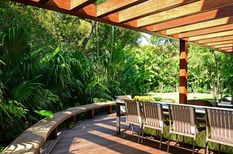 Ipe Deck, Dining Deck, Deck Bench Deck Design Lewis Aqui Landscape + Architectural Design, LLC. Miami, FL