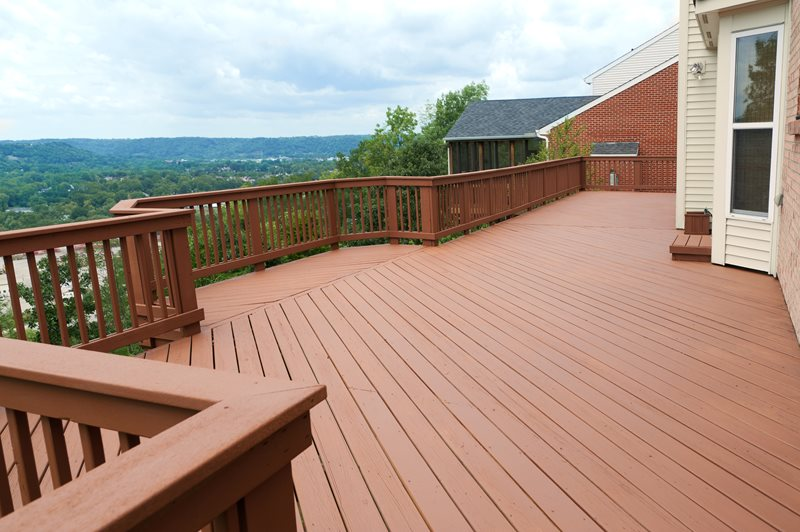 Painted Deck, Brown Railing Deck Design Landscaping Network Calimesa, CA