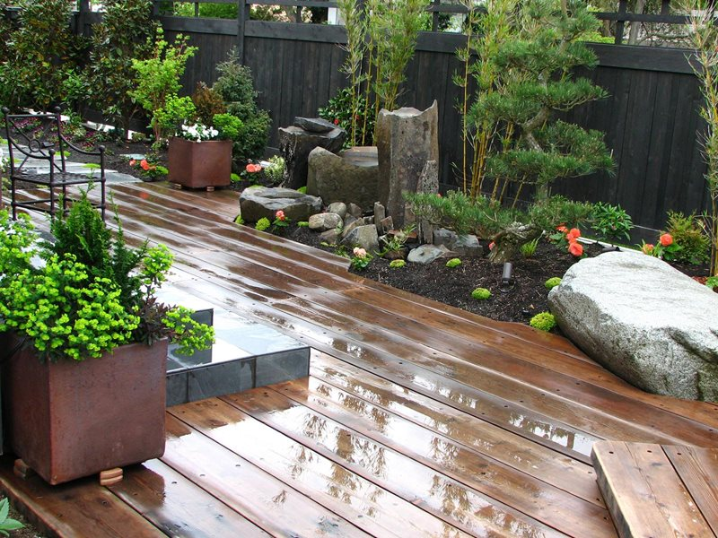 Reclaimed Wood Deck Deck Design Stock & Hill Landscapes, Inc Lake Stevens, WA