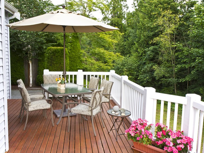 Small Wood Deck, White Wood Railing Deck Design Landscaping Network Calimesa, CA