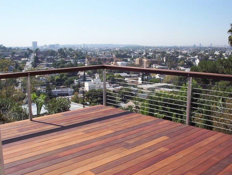 Wood Deck, Cable Railing Deck Design California Decks Los Angeles, CA