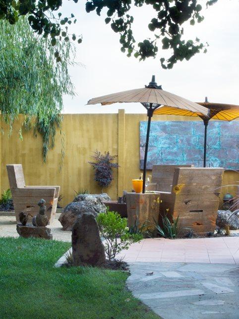 Asian Umbrella, Outdoor Art Decor and Accessory Cevan Forristt Landscape Design San Jose, CA