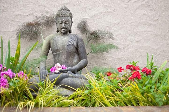 Garden Statue, Asian Statue, Meditating Buddha, Flowers Decor and Accessory Shepard Design Landscape Architecture Greenbrae, CA