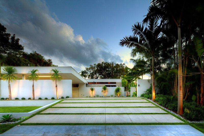 Modern Driveway, Grass Bands Driveway DWY Landscape Architects Sarasota, FL