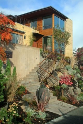 Concrete Stairs Entryways, Steps and Courtyard Banyon Tree Design Studio Seattle, WA