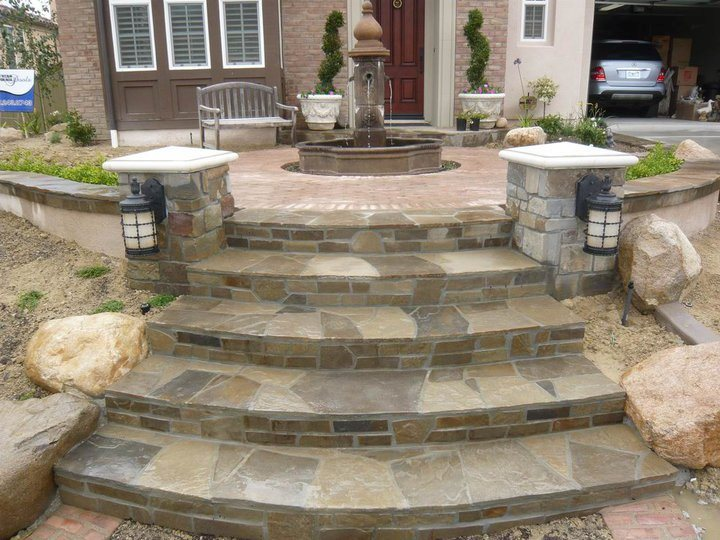 Curved Flagstone Steps Entryways, Steps and Courtyard Quality Living Landscape San Marcos, CA