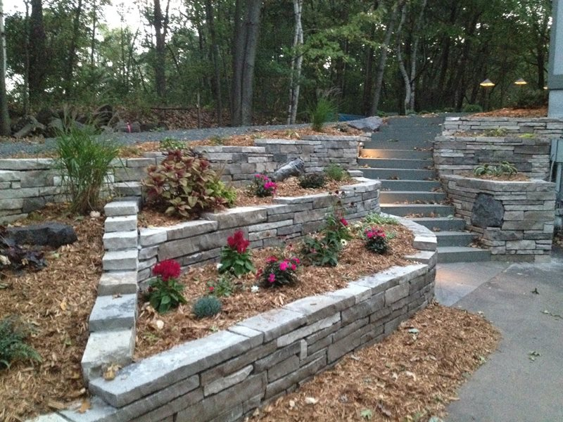 Dry Stone Retaining Wall, Solid Bluestone Steps Entryways, Steps and Courtyard Arabella Stone Co. Minneapolis, MN