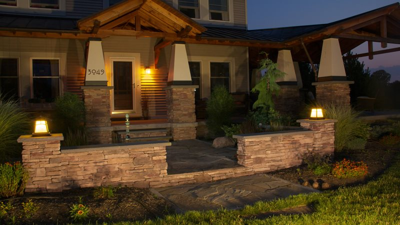 Front Entrance, Lighting, Craftsman Entryways, Steps and Courtyard Stonewood and Waters Mendon, NY
