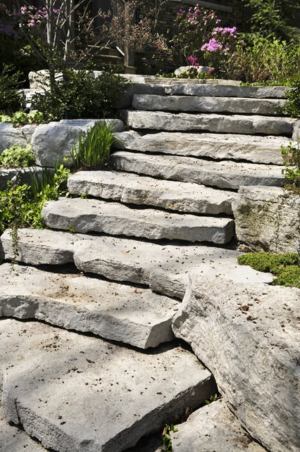 Gray Natural Stone Stairs Entryways, Steps and Courtyard Landscaping Network Calimesa, CA