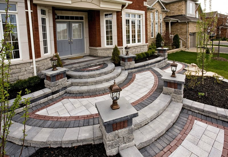 paver entryway design entryways steps and courtyard ogs landscape services whitby on