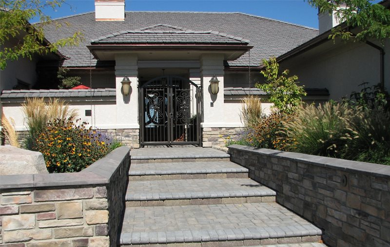 Steps, Wall, Pavers, Wrought Iron, Wall Sconces Entryways, Steps and Courtyard Breckon Land Design Inc. Garden City, ID