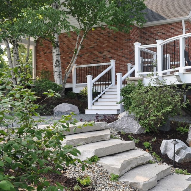 Entryways steps and courtyard wheeling il photo for Courtyard stone landscape