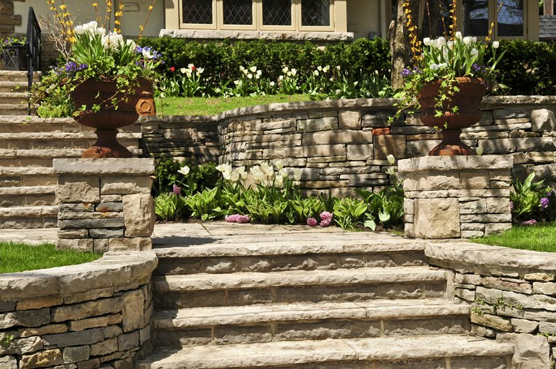 Terraced Garden, Stone Wall, Flower Urns Entryways, Steps and Courtyard Landscaping Network Calimesa, CA
